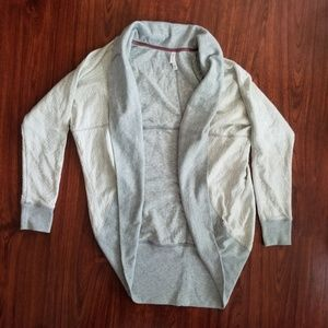 Womens Cocoon Sweater Cardigan Gray White Lace